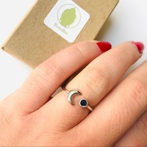 Crescent Moon & Dainty Onyx Sterling Silver Ring